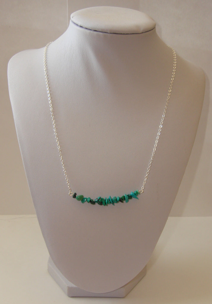 Natural Stone Chip Necklace - Turquoise