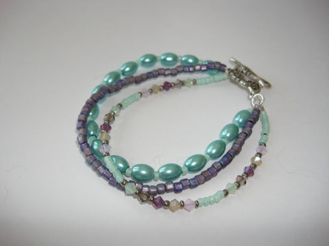 Boho Chic Beaded Bracelet - Mint and Purple