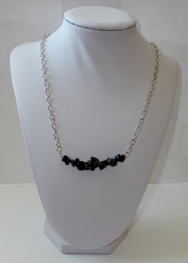 Natural Stone Chip Necklace - Obsidian