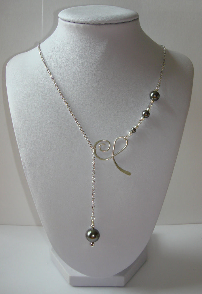 Hammered Lariat Style Necklace - Swirly Flourish with Dark Grey Pearls