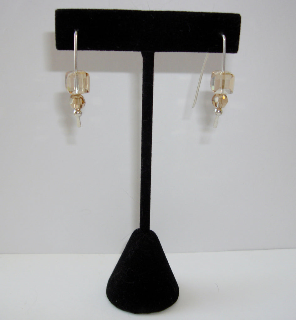 Crystal Cube Earrings - Light Topaz