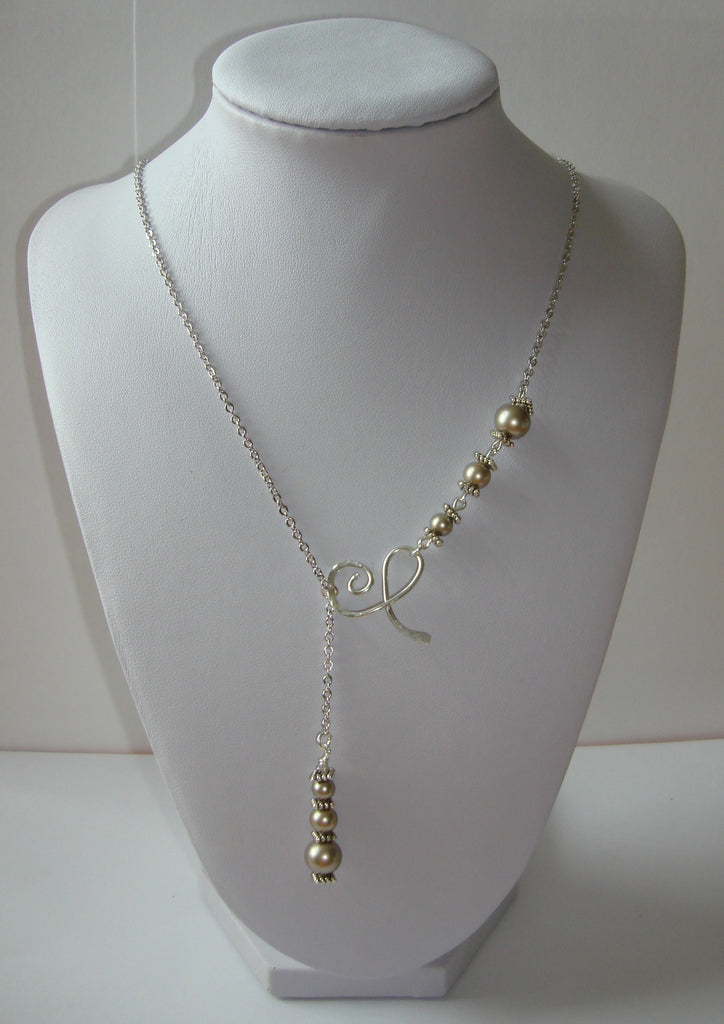 Hammered Lariat Style Necklace - Swirly Flourish with Platinum Pearls