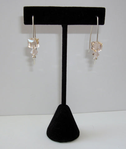Crystal Cube Earrings - Pale Peach