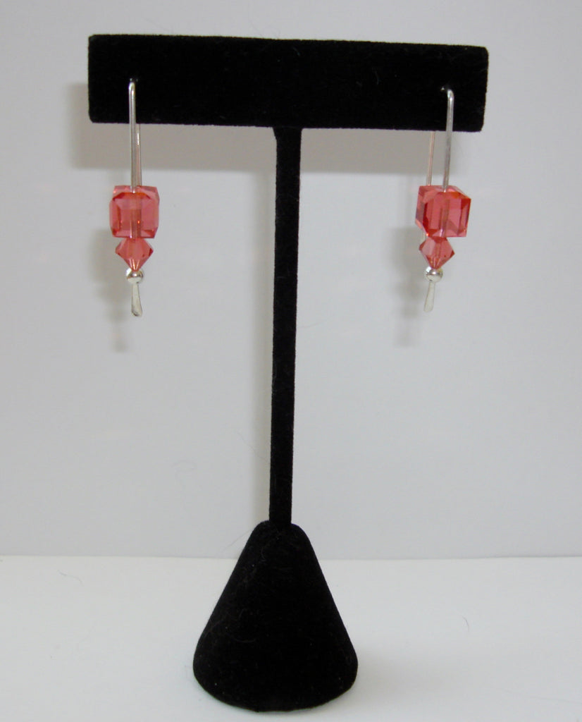 Crystal Cube Earrings - Padparadscha (Dark Pink)