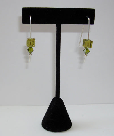 Crystal Cube Earrings - Olive