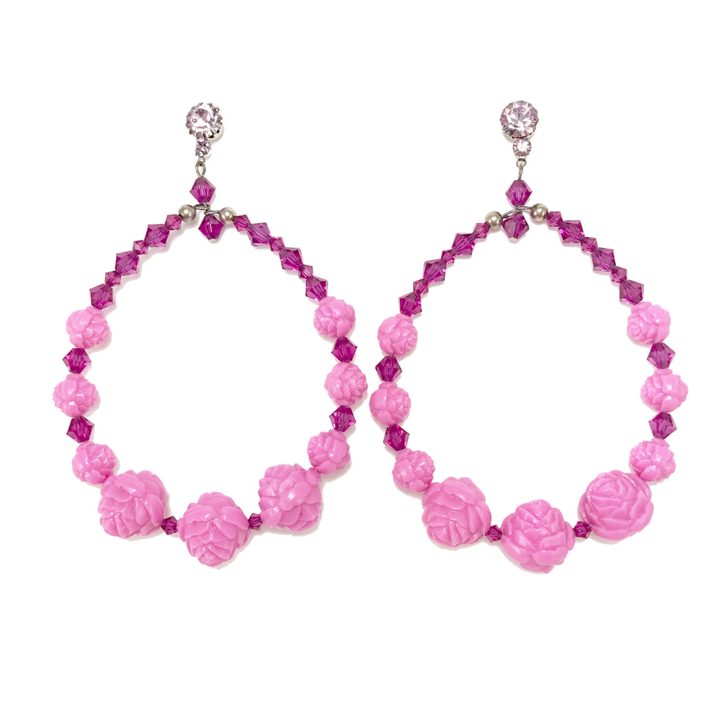 Rose Hoop Earrings