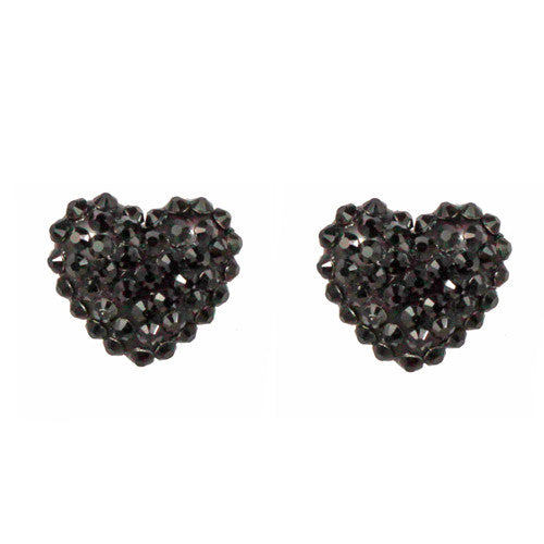 Iconic Crystal Pave Heart Post Earrings - Black
