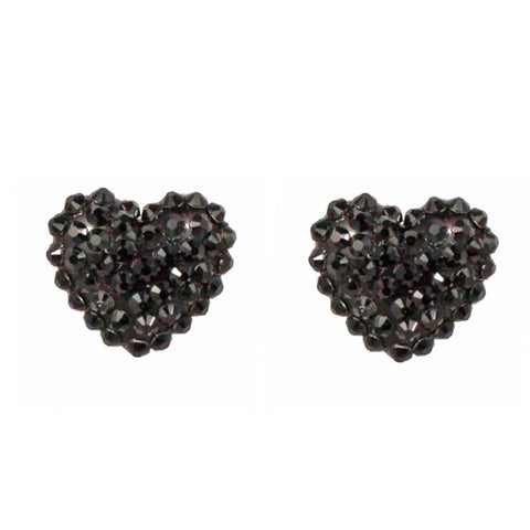 Crystal Pave' Heart Post Earrings