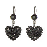 Crystal Pave' Heart Drop Earrings