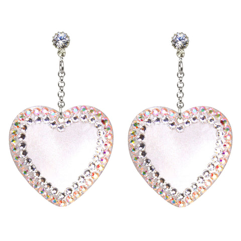 Pave' Heart Drop Earrings