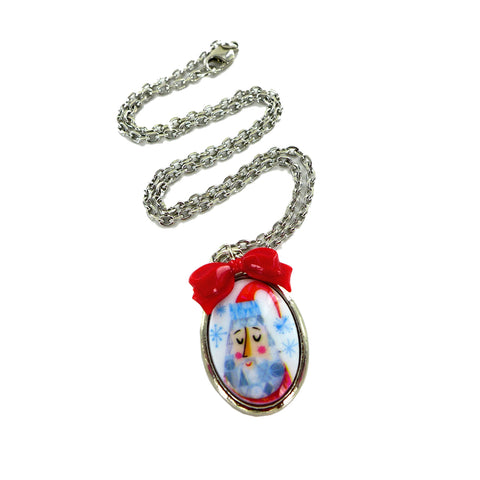 Santa Mini Portrait Necklace