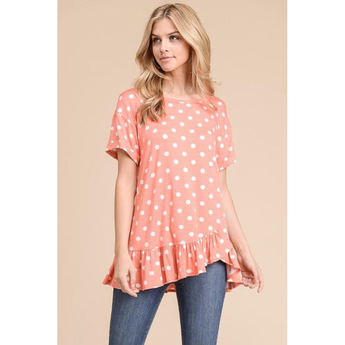 Coral Polka Dot Top