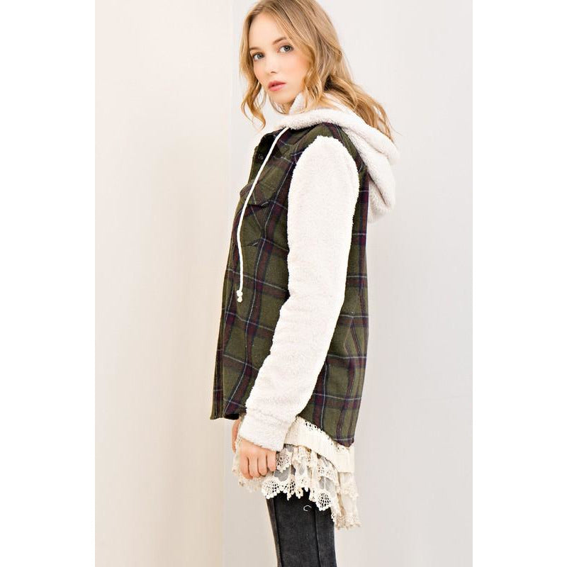 Plaid + Fleece Top