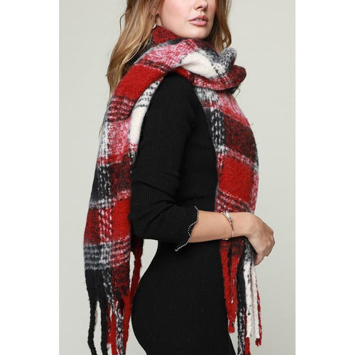 Burgundy Plaid Scarf