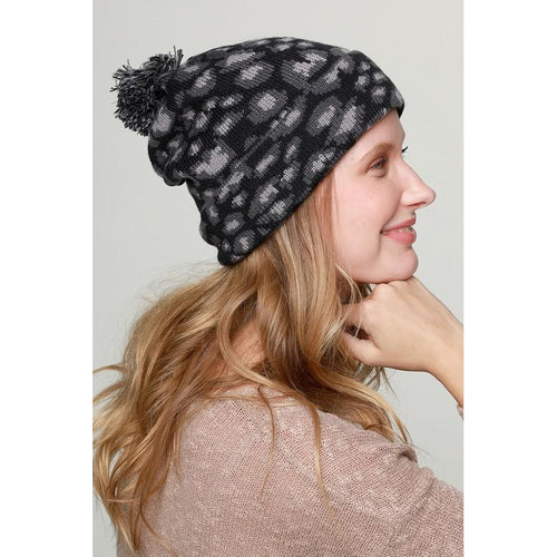 Black/Grey Cheetah Beanie