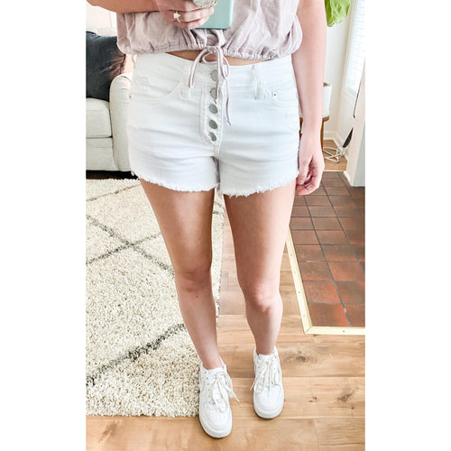 Summer Days Button Fly Shorts- White