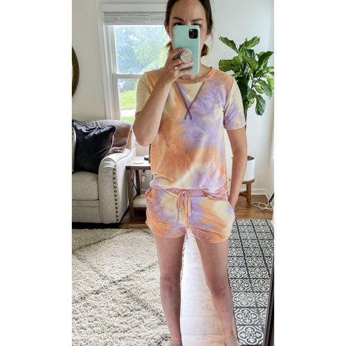 Orange/Lavender Tie Dye  Lounge Set- TOP