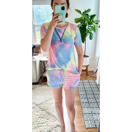 Pink/Blue/Yellow Tie Dye  Lounge Set- TOP