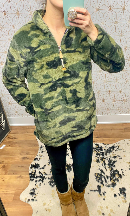 Camo Sherpa Pull Over