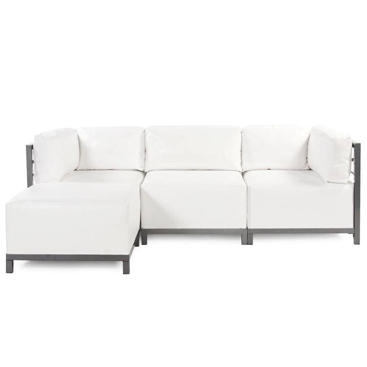 Axis 4pc Sectional Atlantis White Faux Leather   Titanium Frame