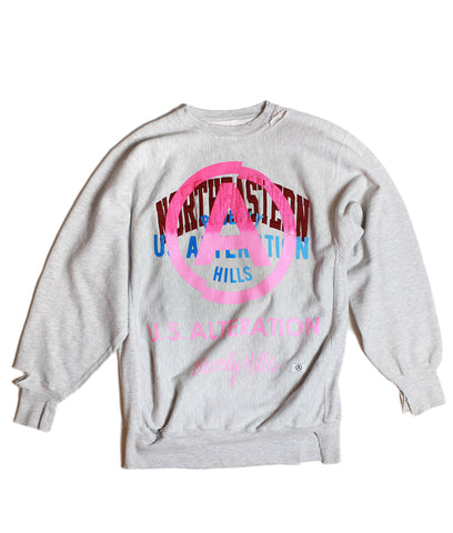 """NORTHEASTERN"" /VINTAGE CHAMPION/ CREWNECK/ SWEATSHIRT/ LT GREY /L"