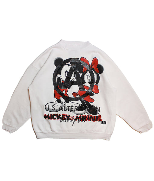 MICKEY AND MINNIE 'SHY GIRL' VINTAGE SWEATSHIRT/ WHITE/ L