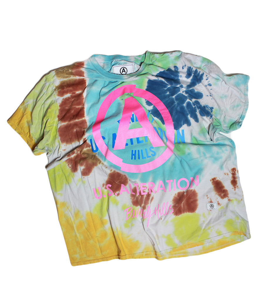 YELLOW SPIRAL TIE DYE TSHIRT /VINTAGE /SHORT SLEEVE/ XL