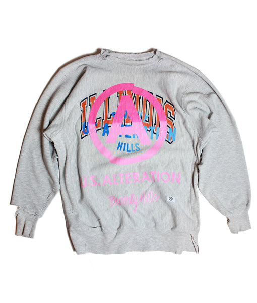 """ILLINOIS"" /VINTAGE CHAMPION/ CREWNECK/ SWEATSHIRT / LT GREY/ L"