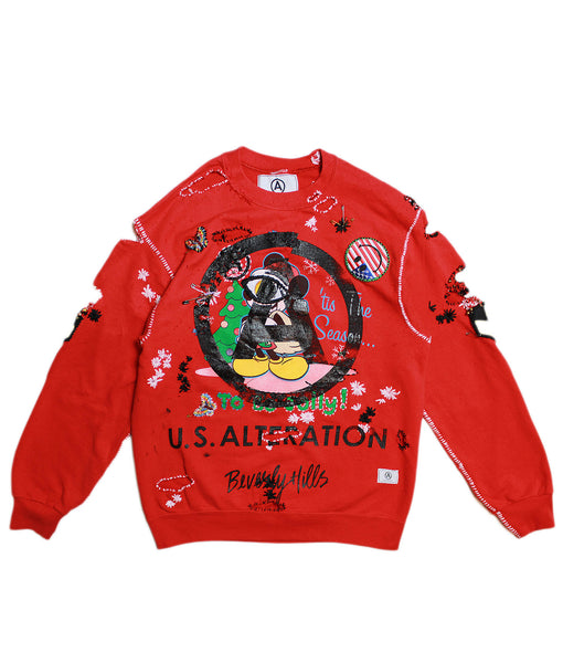 MICKEY MOUSE 'TIS THE SEASON' VINTAGE/ RECONSTRUCT SWEATSHIRT/ L