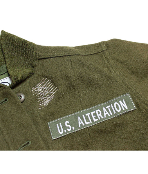 U.S ALTERATION OLIVE WOOL BUTTON JACKET/ VINTAGE/ S