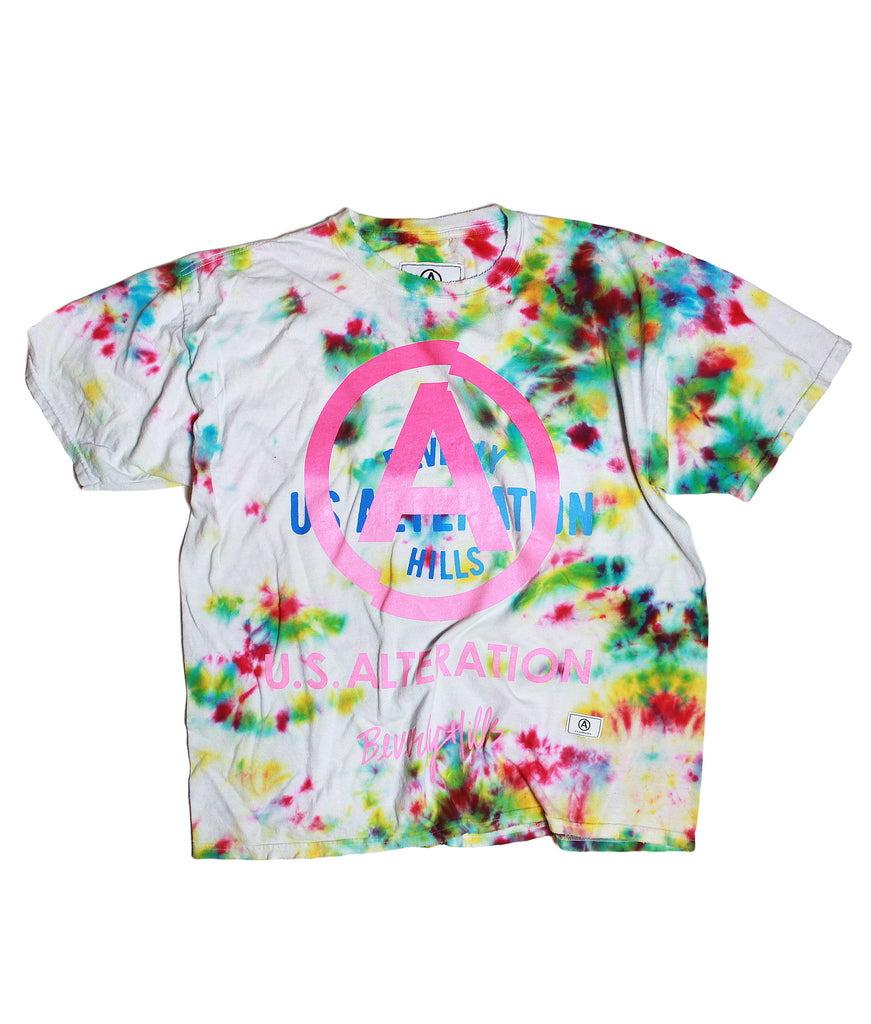 WHITE MULTI TIE DYE TSHIRT /VINTAGE /SHORT SLEEVE/ XL