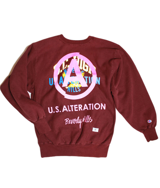 """B.C HIGH"" /VINTAGE CHAMPION/ CREWNECK/ SWEATSHIRT / BURGUNDY/ XL"