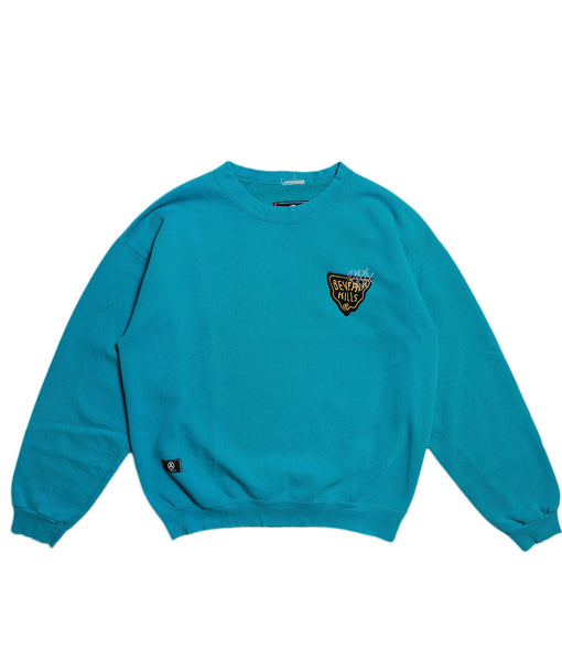 CHAMPION 'BASIC' DISTRESSED SWEATSHIRT/ AQUA/ L