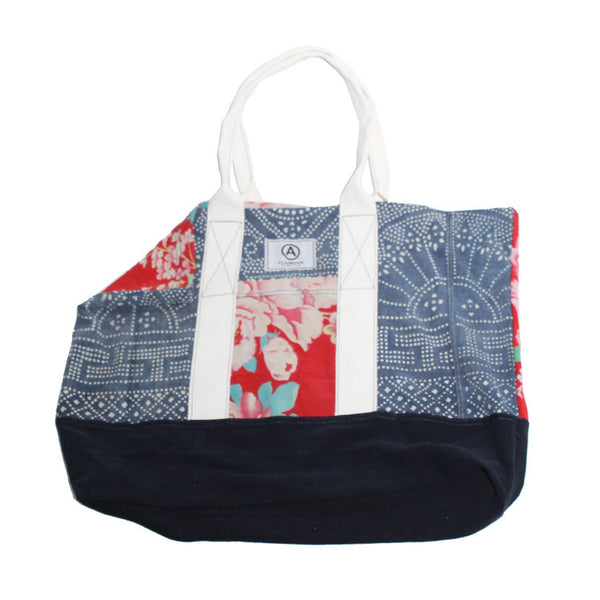 VINTAGE PRINTED DENIM TOTE