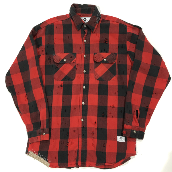U.S ALTERATION VINTAGE DISTRESSED FLANNEL SHIRT BLACK RED /LARGE