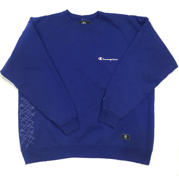 CHAMPION SWEATSHIRT/ DISTRESSED / BERRY BLUE / XL
