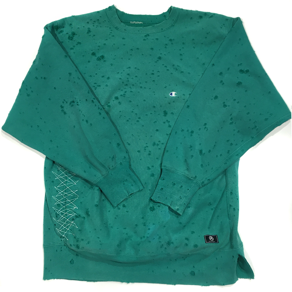 CHAMPION SWEATSHIRT/ DISTRESSED / TEAL GREEN / XL