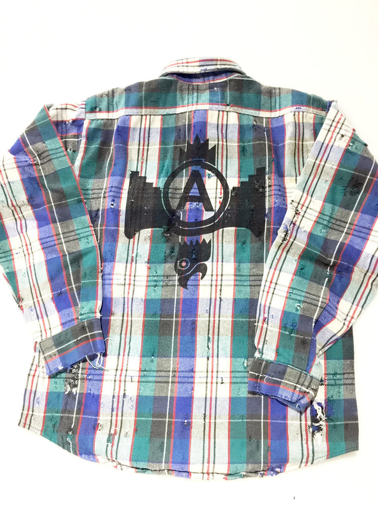 U.S ALTERATION VINTAGE FLANNEL SHIRT/MEDIUM/EAGLE USALT PRINT