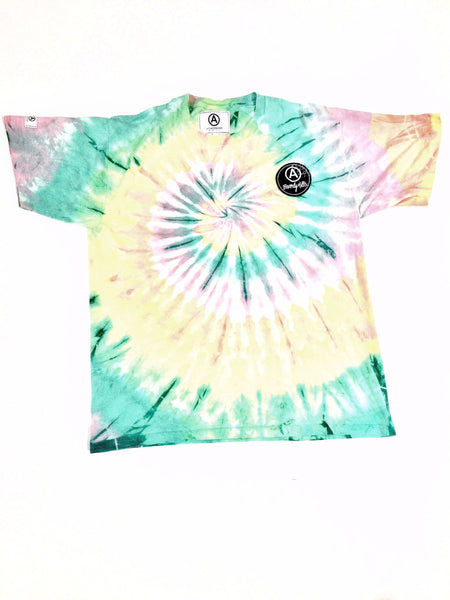 GREEN YELLOW SPIRAL TIE DYE T-SHIRT/ UNISEX/ VINTAGE/ XL