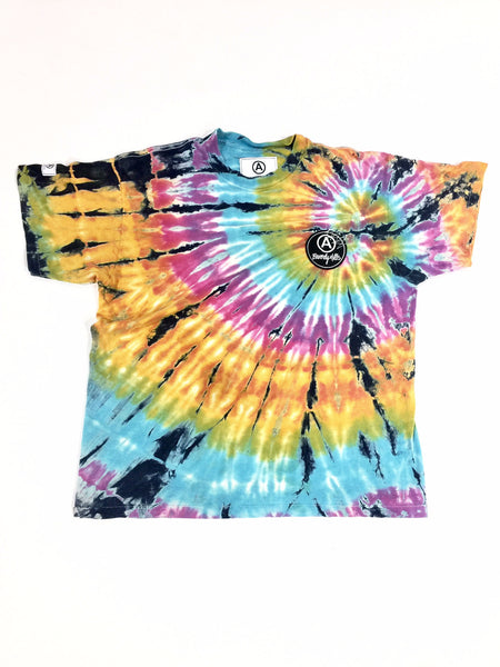 YELLOW BLACK SPIRAL TIE DYE T-SHIRT / VINTAGE/ US ALT/ XL