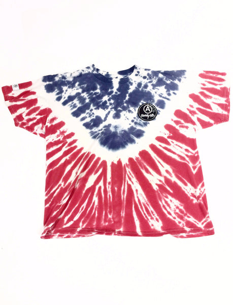 RED/WHITE/BLUE FOLDED TIE DYE T-SHIRT