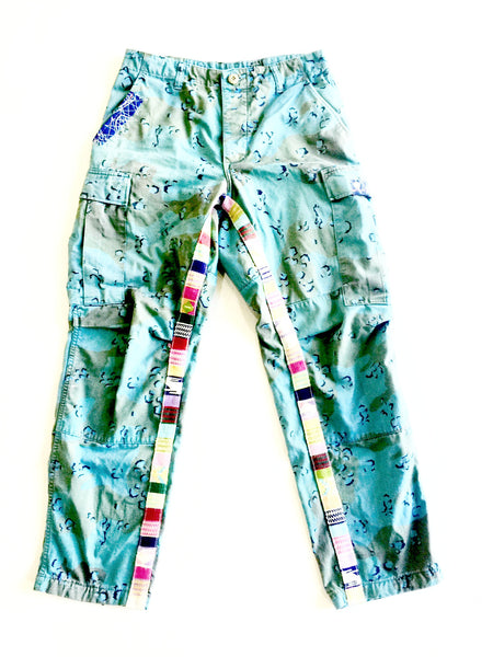 military overdye cargo pant with side custom embroidery details