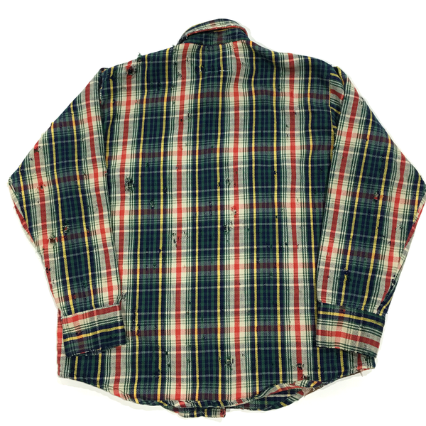 U.S ALTERATION VINTAGE DISTRESSED FLANNEL GREEN RED YELLOW SHIRT /LARGE