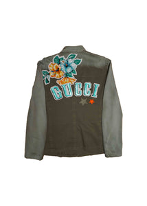 'VINTAGE' GUCCI // MILITARY JACKET // w/ LOGO X PATCH DETAIL