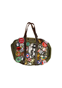 MILITARY TOTE WITH GUCCI PATCHES