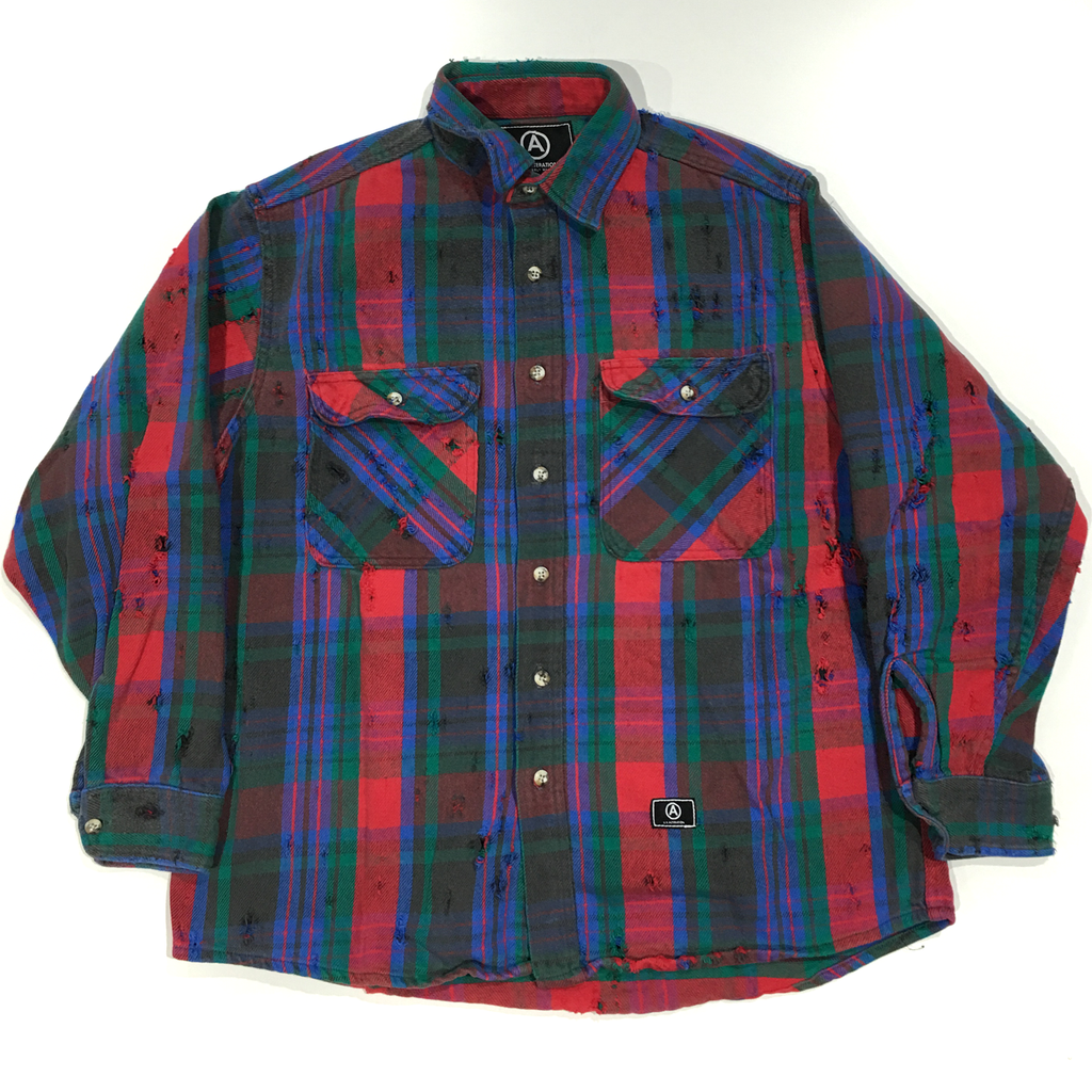 U.S ALTERATION VINTAGE DISTRESSED FLANNEL GREEN BLUE RED SHIRT/MEDIUM