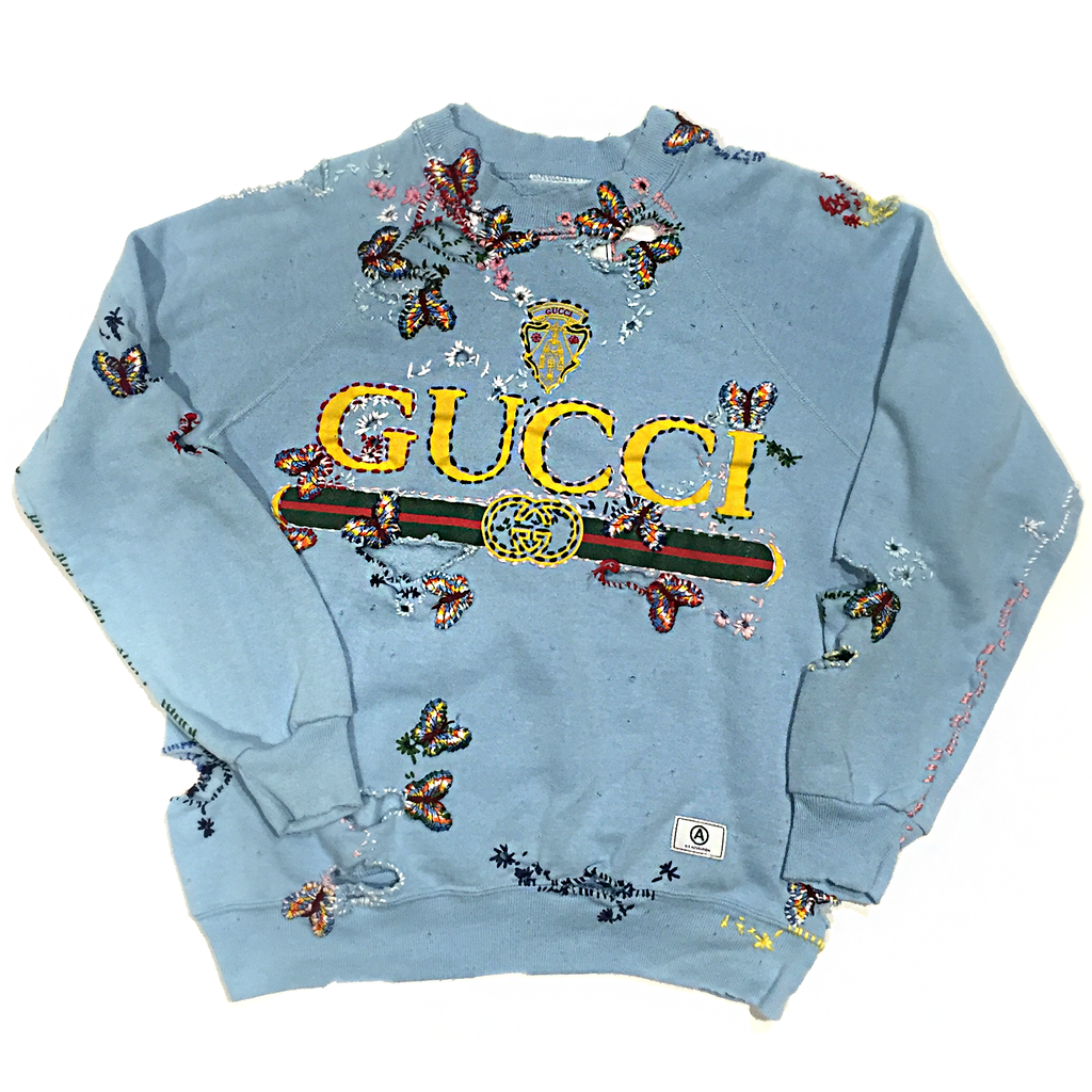 U.S ALTERATION GUCCI ARMY BABY BLUE VINTAGE DISTRESSED SWEATSHIRT WITH EMBROIDERED BUTTERFLIES M