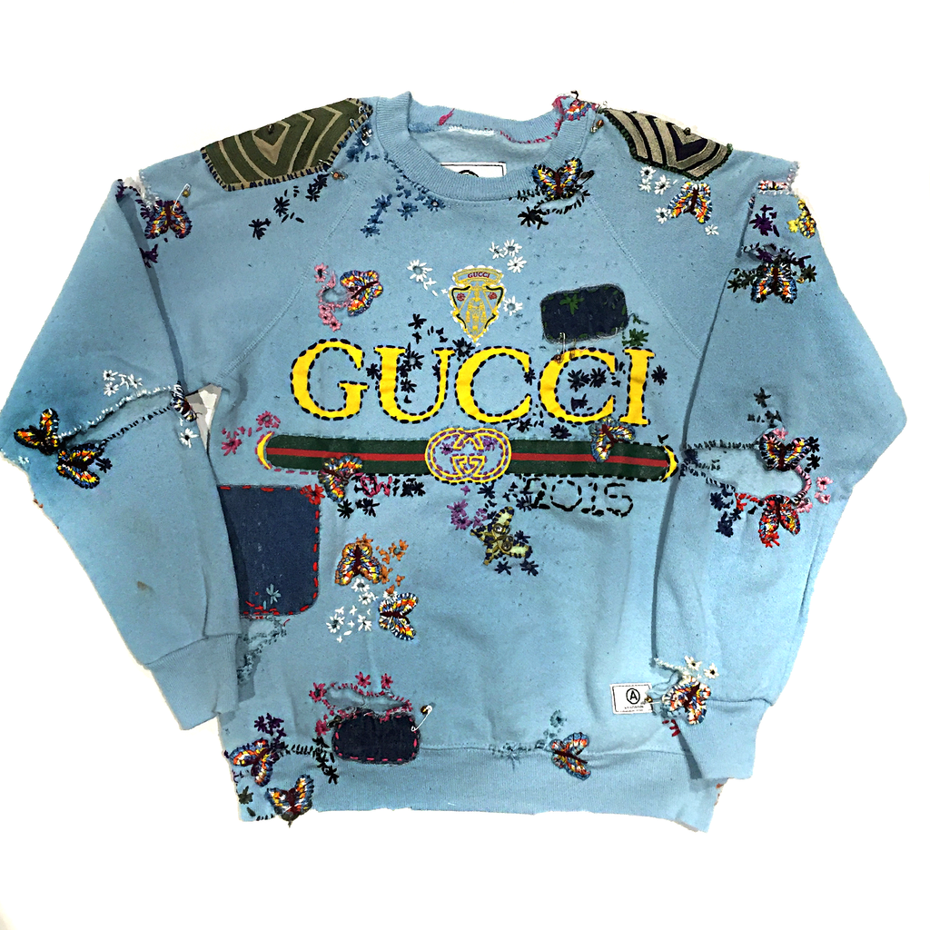 U.S ALTERATION GUCCI ARMY BABY BLUE VINTAGE DISTRESSED SWEATSHIRT WITH PATCHWORK AND EMBROIDERY M