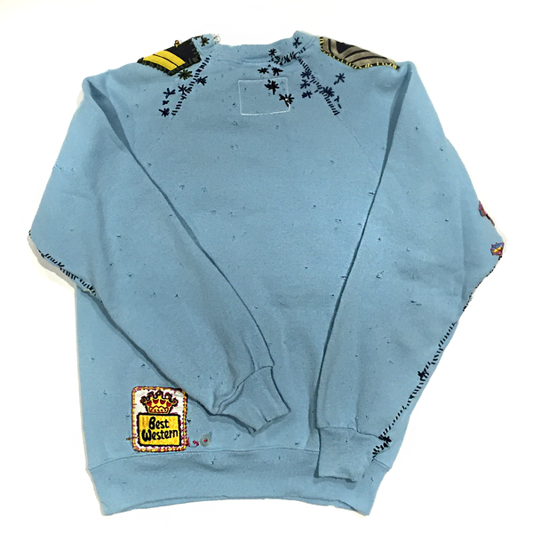 U.S ALTERATION GUCCI ARMY BABY BLUE VINTAGE DISTRESSED SWEATSHIRT WITH PATCHWORK CHEVRON DETAIL M