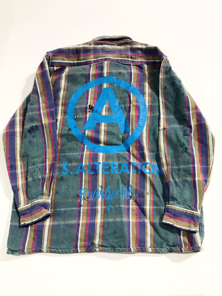 U.S ALTERATION VINTAGE DISTRESSED FLANNEL vintage SHIRT L